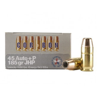 Corbon Self-Defense JHP Handgun Ammunition .45 ACP (+P) 185 gr JHP 1150 fps 20/box