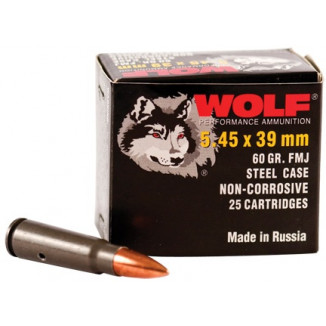 Wolf WPA Polyformance Rifle Ammunition 5.45x39mm 60 gr FMJ 2936 fps - 20/box