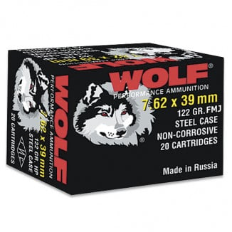 Wolf WPA Polyformance Rifle Ammunition 7.62x39mm 123 gr FMJ 2936 fps - 20/box