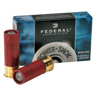 "Federal Power-Shok Rifled Slug 12 ga 2 3/4"" MAX 1 oz Slug 1610 fps - 5/box"