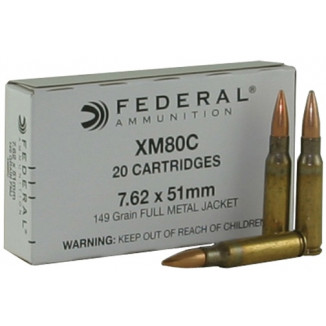 Federal NATO Ammunition - 7.62mm/.308 Winchester 149gr FMJ - 20/ct 7.62mm/.308