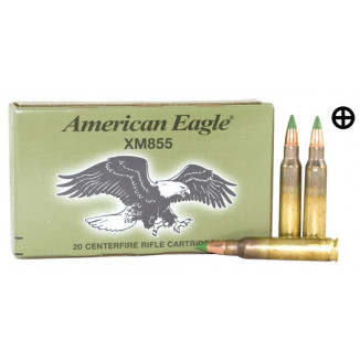 Federal Lake City XM855 Green Tip Ammunition 5.56mm 62 gr FMJ 3020 fps - 20/box