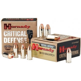 Hornady Critical Defense Handgun Ammo 9x18 Makarov 95 gr FTX 1000 fps 25/box