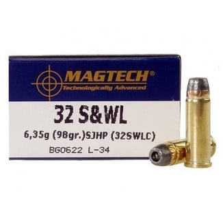 MagTech Handgun Ammunition .32 S&W 98 gr SJHP 778 fps 50/box