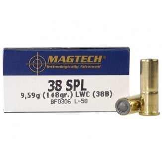 MagTech Handgun Ammunition .38 Spl 148 gr LWC 710 fps 50/box