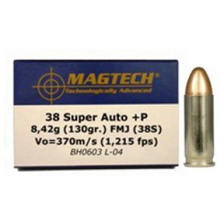 MagTech Handgun Ammunition .38 Super (+P) 130 gr FMJ 1215 fps 50/box