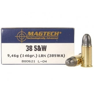 MagTech Handgun Ammunition .38 S&W 146 gr LRN 686 fps 50/box