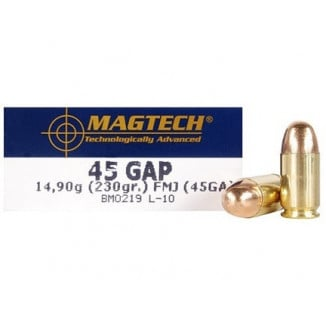 MagTech Handgun Ammunition .45 GAP 230 gr FMJ 837 fps 50/box
