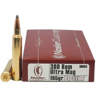 Nosler Trophy Grade Rifle Ammunition .300 RUM 165 gr PT 3350 fps - 20/box