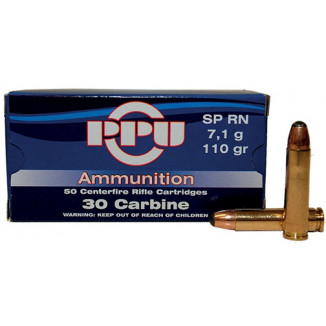 PPU Rifle Ammunition .30 Carbine 110 gr SP 1990 fps - 50/box