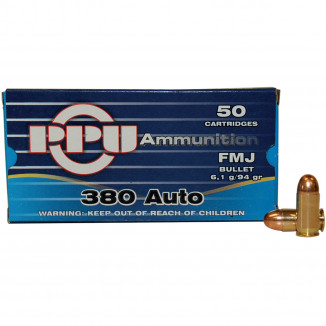 PPU Handgun Ammunition .380 ACP 94 gr FMJ 951 fps 50/box