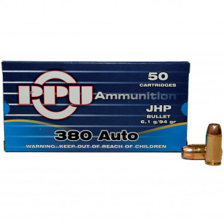 PPU Handgun Ammunition .380 ACP 94 gr JHP 951 fps 50/box