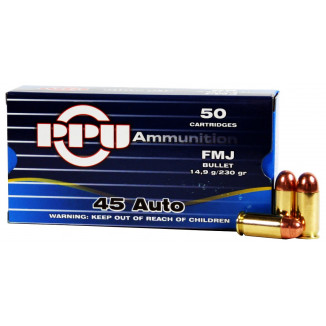 PPU Handgun Ammunition .45 ACP  SJHP  50/box
