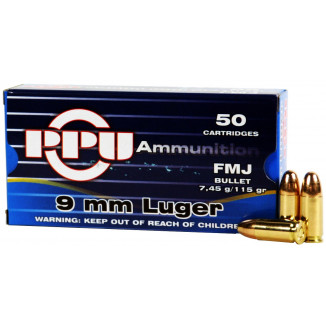 PPU Handgun Ammunition 9mm Luger  115 gr JHP  50/box
