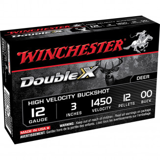 "Winchester Double X High-Velocity Buckshot 12 ga 3 1/2""  15 plts #00 1450 fps - 5/box"