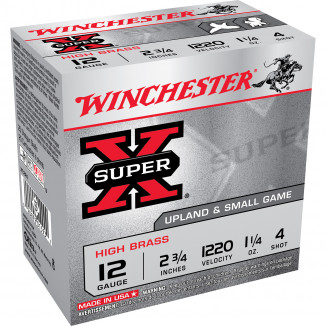 "Winchester Super-X Hi-Brass 12 ga 2-3/4"" 1-1/4oz #4 1220 fps - 25/box"