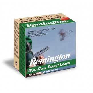 "Remington Gun Club Target Load 12 ga 2 3/4"" 2 3/4 dr 1 1/8 oz #8 1145 fps - 25/box"