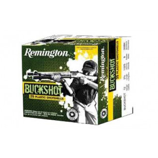 "Remington Buckshot 12 ga 2 3/4"" 3 3/4 dr 9 plts #00 1325 fps - 25/box"