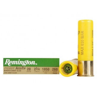 "Remington Premier AccuTip Bonded Sabot Slug 20 ga 2 3/4""  260 gr Slug 1850 fps - 5/box"