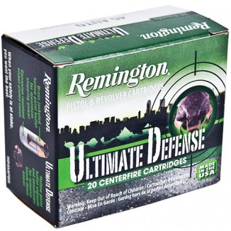 Remington Ultimate Defense Handgun Ammunition .40 S&W 102 gr BJHP 940 fps 20/Box