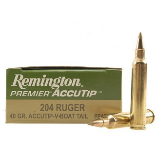 Remington Premier AccuTip Varmint Rifle Ammunition .204 Ruger 40 gr ATV-BT - 3900 fps