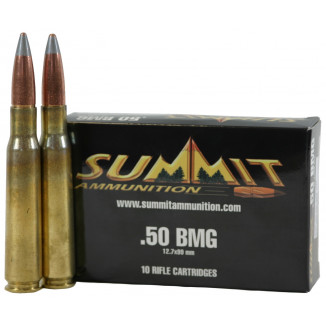 Summit Rifle Ammunition with New Brass .50 BMG 700 gr Black Tip  - 10/box