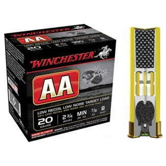 "Winchester AA Target 20 ga 2 3/4"" 1 1/2 dr 7/8 oz #8 980 fps - 25/box"
