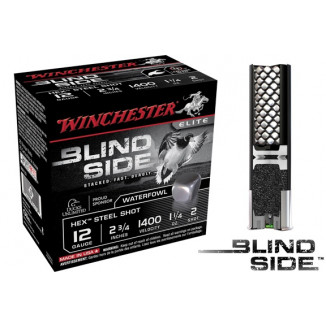 "Winchester Blind Side Hex Shot 12 ga 2 3/4""  1 1/4 oz #2 1400 fps - 25/box"