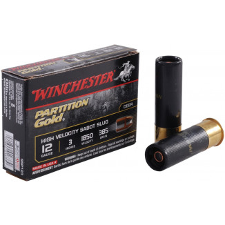 "Winchester Supreme Partition Gold Slug 12 ga 3""  385 gr Slug 1850 fps - 5/box"