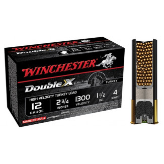 "Winchester Double X Turkey Load 12 ga 2 3/4"" MAX 1 1/2 oz #4 1300 fps - 10/box"