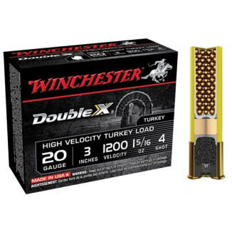 "Winchester Double X Turkey Load 20 ga 3"" MAX 1 5/16 oz #4 1200 fps - 10/box"