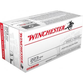 Winchester USA Rifle Ammunition .223 Rem 45 gr JHP 3600 fps - 40/box