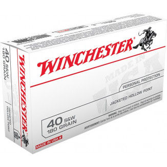 Winchester USA Handgun Ammunition .40 S&W 180 gr JHP  50/box