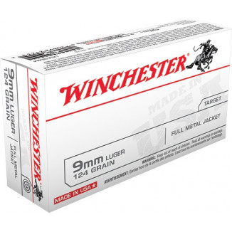 Winchester USA Handgun Ammunition 9mm Luger 124 gr FMJ  50/box