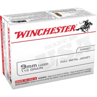 Winchester USA Handgun Ammunition 9mm Luger 115 gr FMJ  100/box