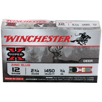 "Winchester Super-X Lead-Free Zinc Smooth-Bore Slug 12 ga 2 3/4"" 3/4 oz - 5/box"