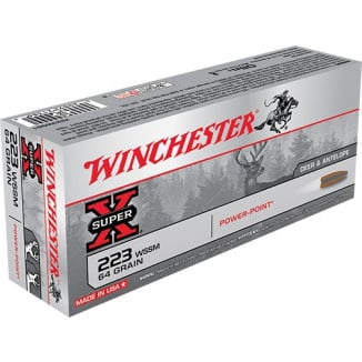 Winchester Super-X Rifle Ammunition .223 WSSM 64 gr PSP 3600 fps - 20/box