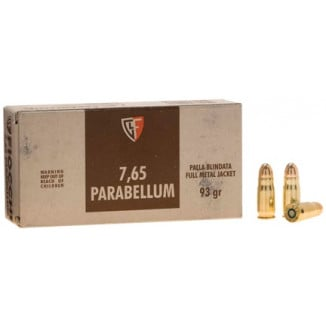 Fiocchi Pistol Shooting Dynamics Handgun Ammunition .30 Luger 93 gr FMJ 1200 fps 50/box