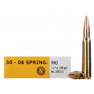 Sellier & Bellot Rifle Ammunition .30-06 Sprg 180 gr FMJ 2675 fps - 20/box