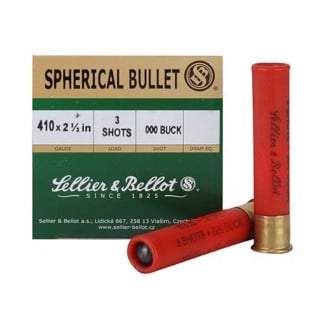 "Sellier & Bellot Shotgun Ammunition .410 ga 2 1/2""  3 plts #000  - 25/box"