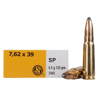 Sellier & Bellot Rifle Ammunition 7.62x39mm 123 gr SP 2435 fps - 20/box