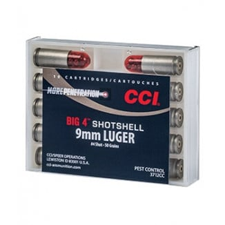 CCI Big 4 Handgun Shotshell Ammunition 9mm Luger  #4 1000 fps 10/ct