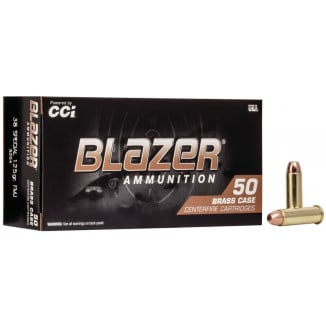 CCI Blazer Brass Handgun Ammunition .38 Spl 125 gr FMJ 865 fps 50/ct