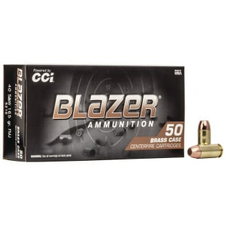 CCI Blazer Brass Handgun Ammunition .40 S&W 165 gr FMJ 1050 fps 50/ct