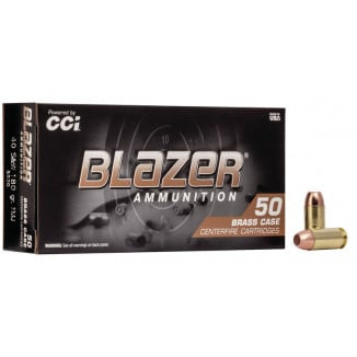 CCI Blazer Brass Handgun Ammunition .40 S&W 180 gr FMJ 985 fps 50/ct