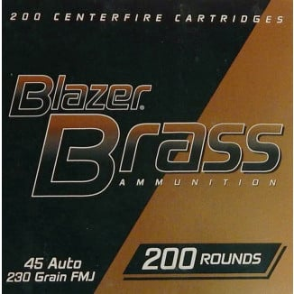 CCI Blazer Brass Handgun Ammunition .45 ACP 230 gr FMJ 830 fps 200/ct