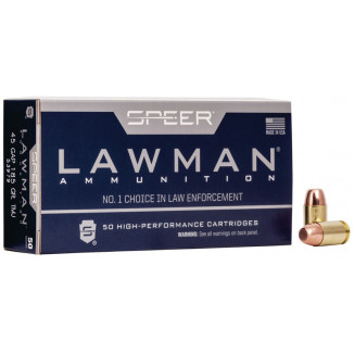 Speer Lawman Handgun Ammunition .45 GAP 185 gr TMJ 1060 fps 50/ct