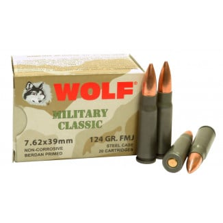 Wolf Military Classic Rifle Ammunition 7.62x39 124 gr FMJ 2330 fps 20/ct