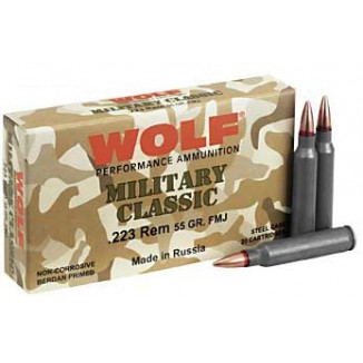 Wolf Military Classic Rifle Ammunition .223 Rem 55 gr Steel Cased FMJ 20/Box