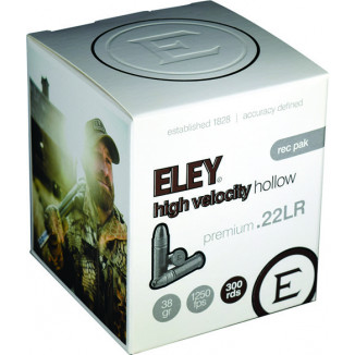 Eley High Velocity Hollow Rimfire Ammunition .22LR 38gr HP 1250 fps 300/ct